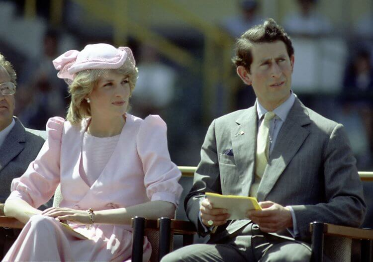 NEWCASTLE, AUSTRALIA - 1983: Princess Diana And Prince Charles watch an official event during their first royal Australian tour 1983 IN Newcastle, Austrlia
